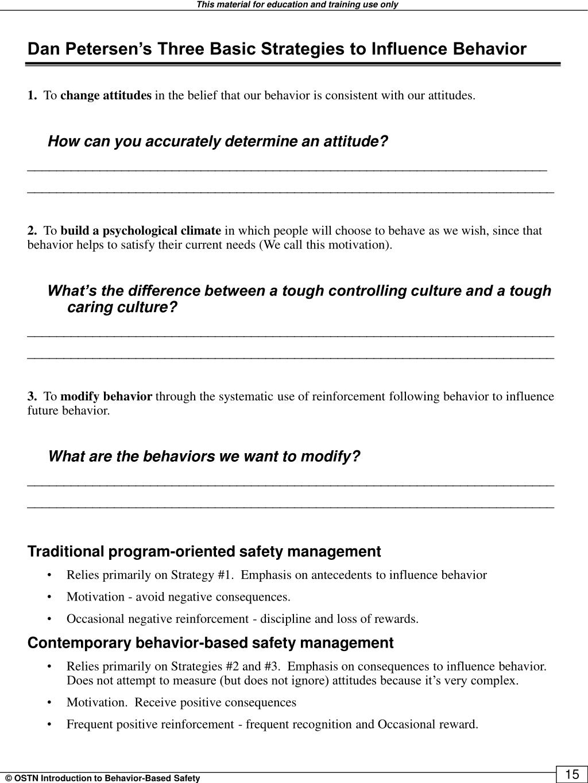 Dan Petersen's Three Basic Strategies to Influence Behavior