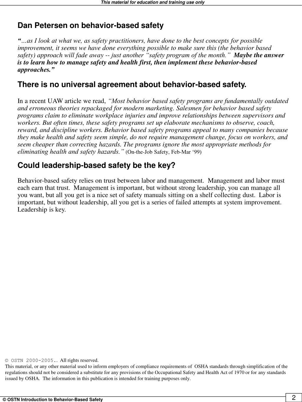 Dan Petersen on behavior-based safety