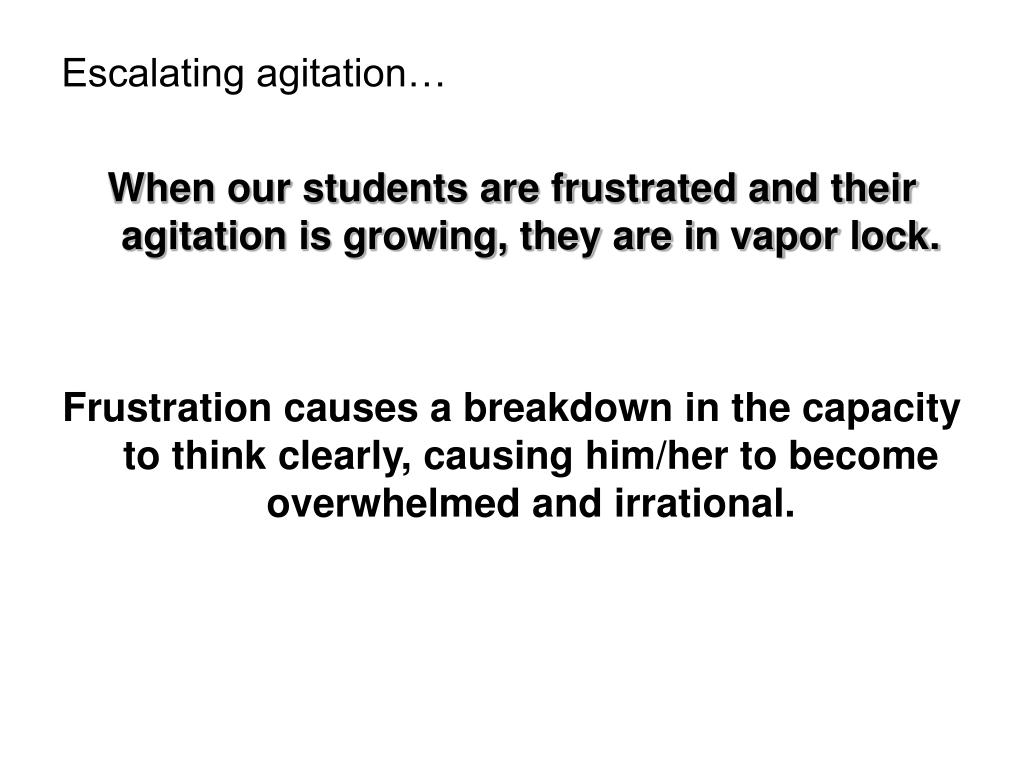 Escalating agitation…