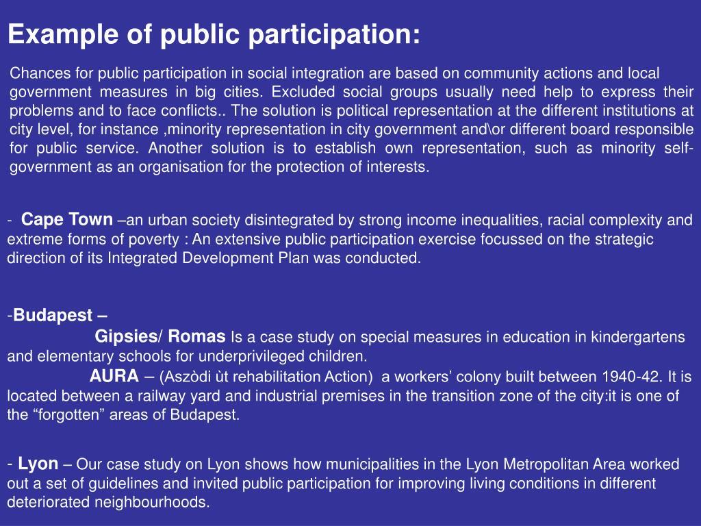 Example of public participation: