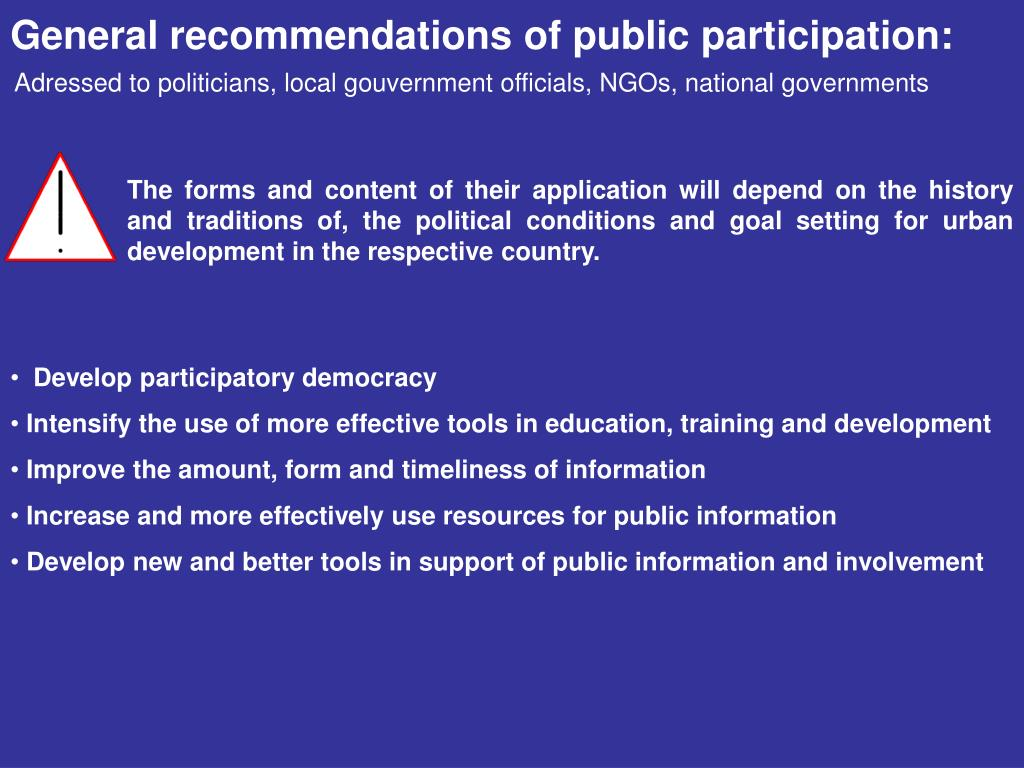 General recommendations of public participation: