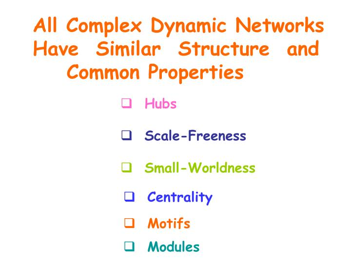 All Complex Dynamic Networks