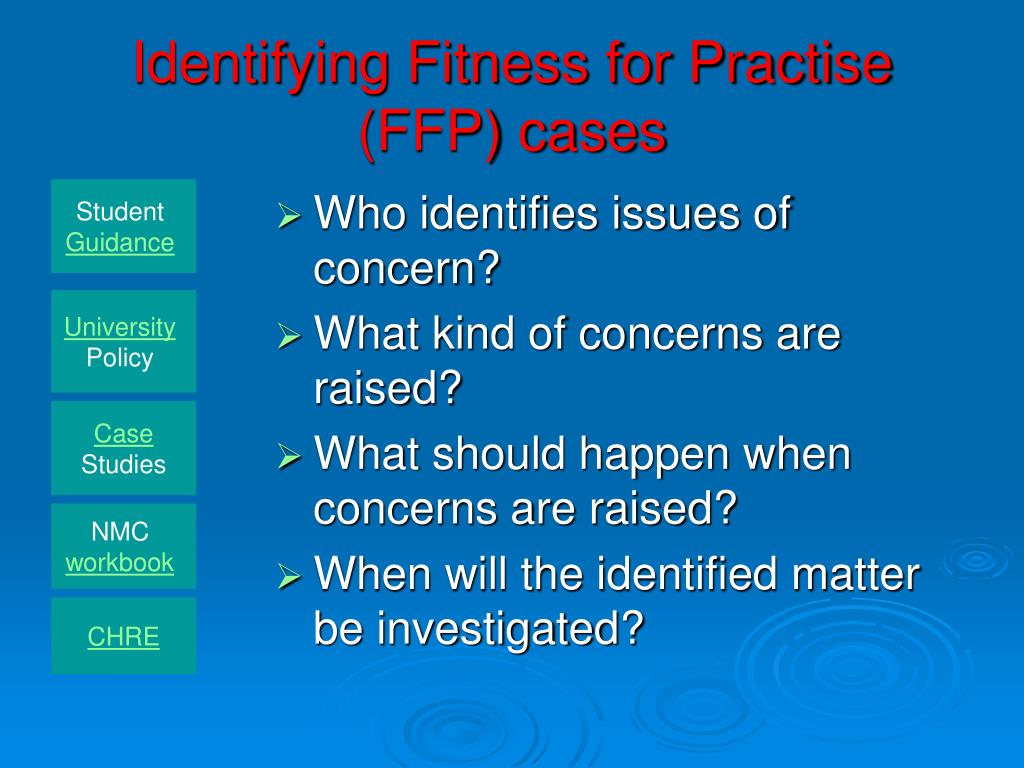 Identifying Fitness for Practise (FFP) cases