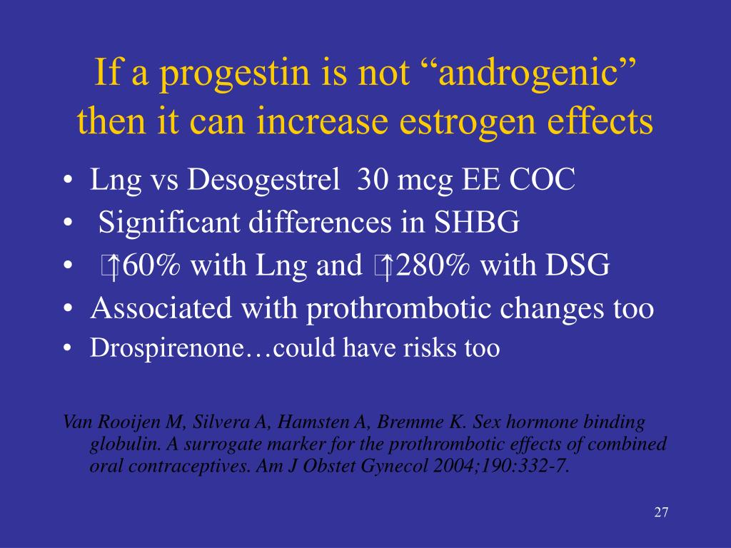 "If a progestin is not ""androgenic"" then it can increase estrogen effects"