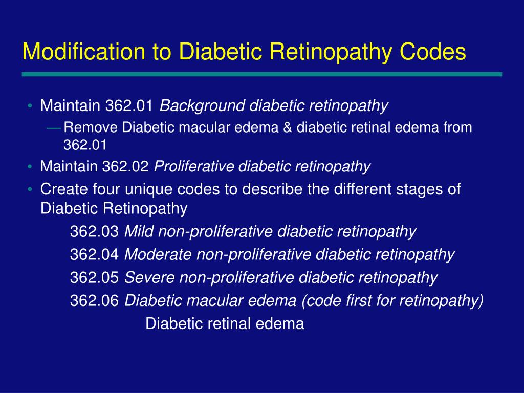 Modification to Diabetic Retinopathy Codes