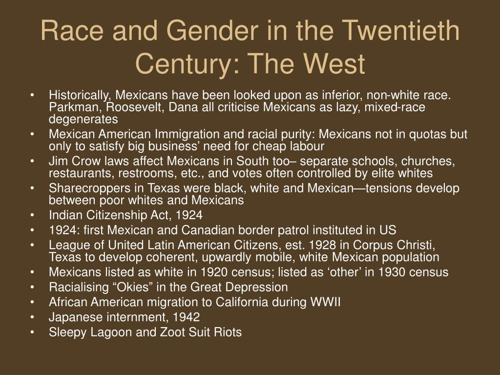 Race and Gender in the Twentieth Century: The West