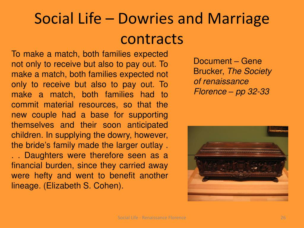 Social Life – Dowries and Marriage contracts
