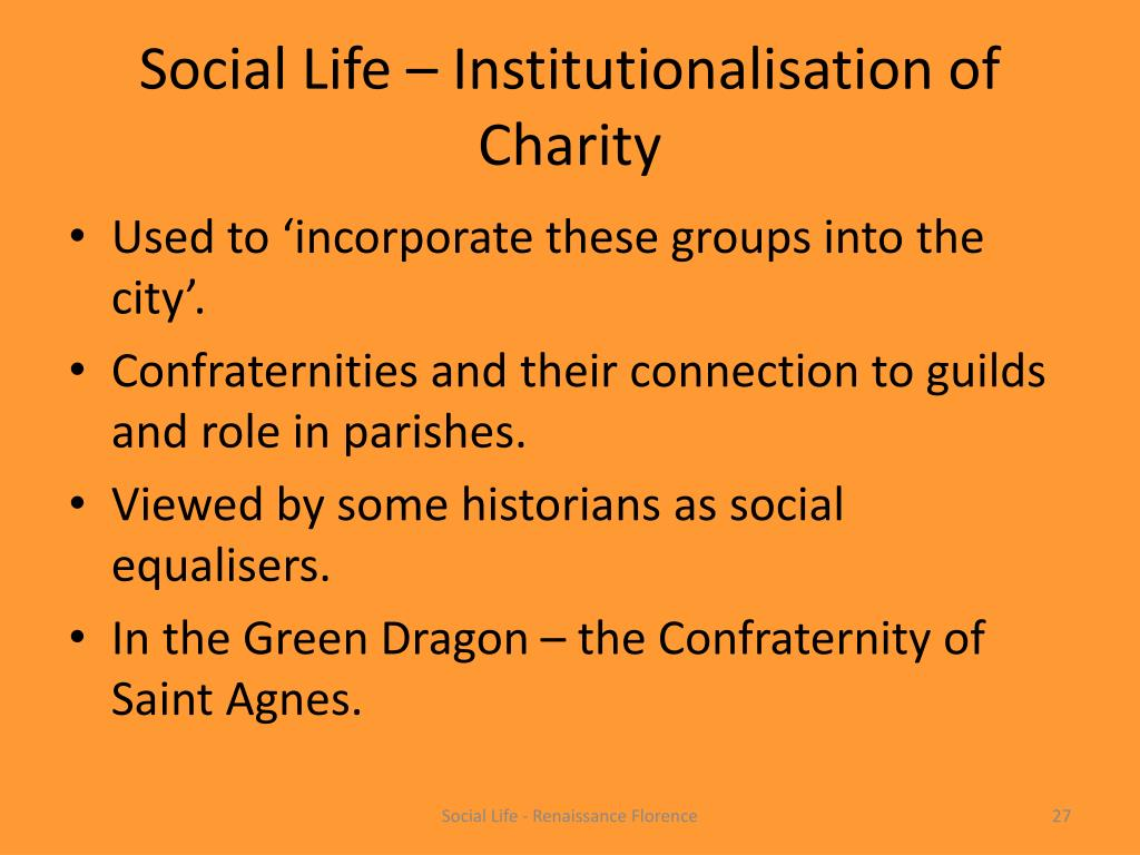 Social Life – Institutionalisation of Charity
