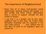 the importance of neighbourhood