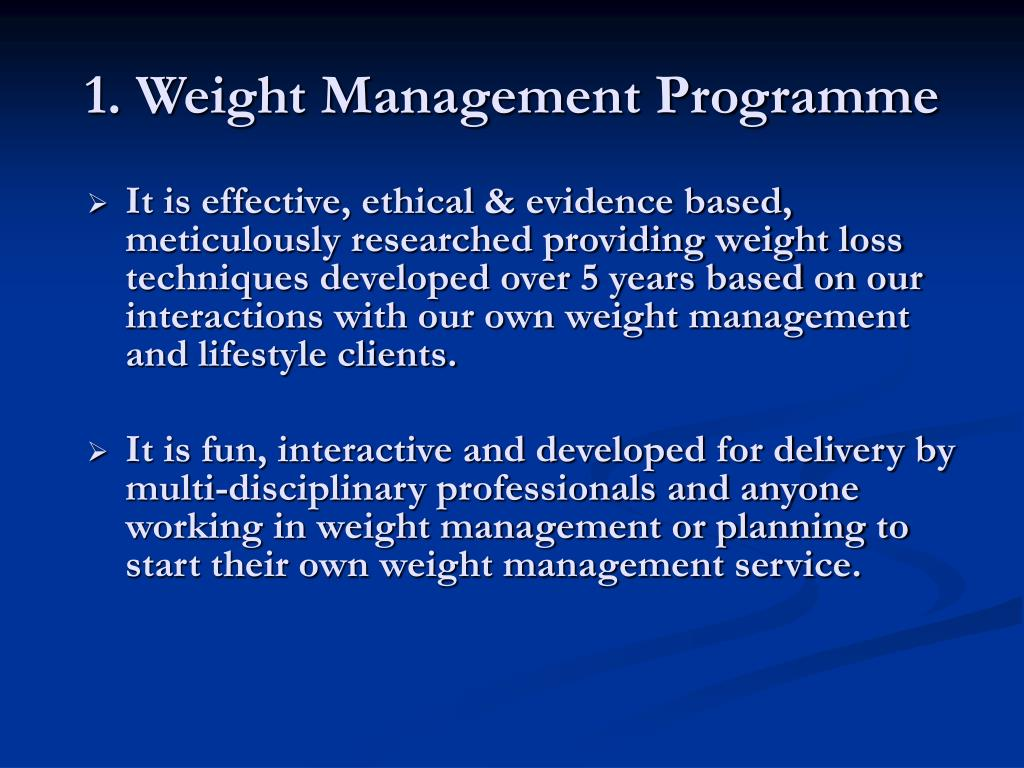 1. Weight Management Programme