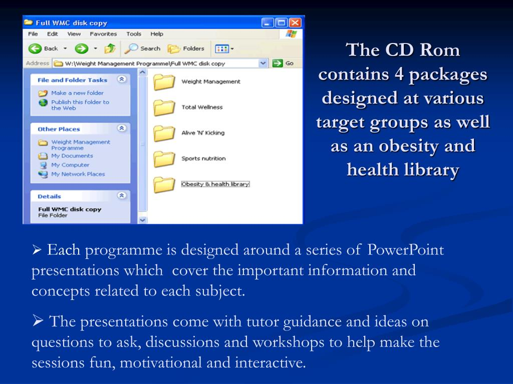 The CD Rom contains 4 packages designed at various target groups as well as an obesity and health library