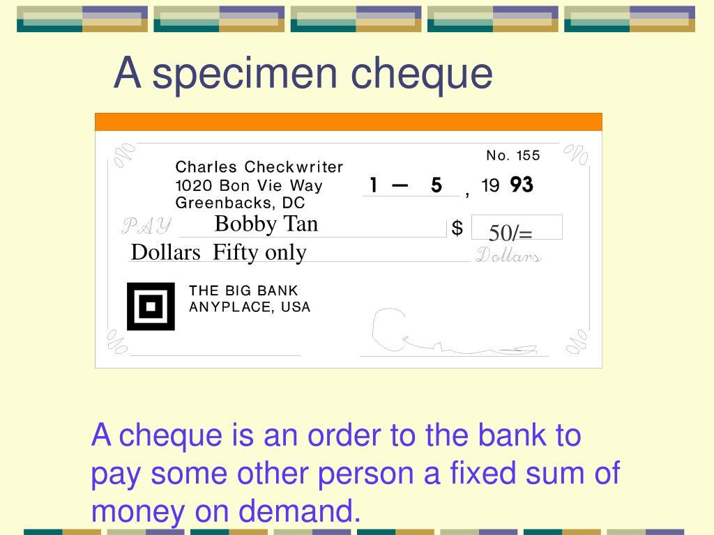 A specimen cheque