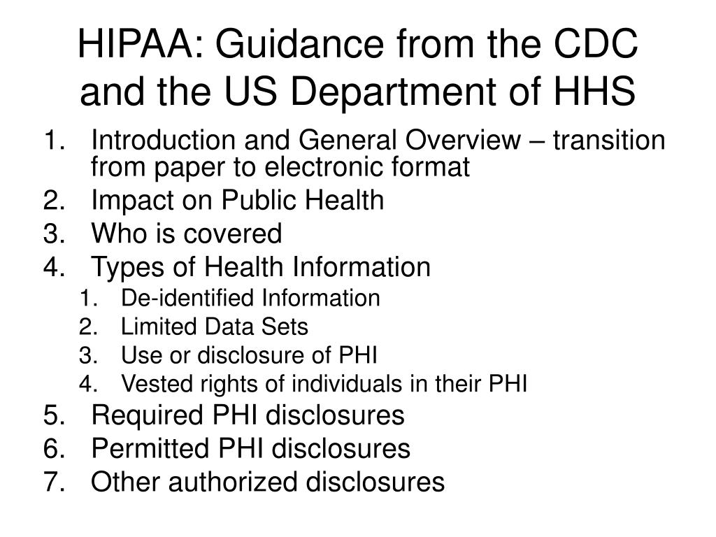 HIPAA: Guidance from the CDC and the US Department of HHS