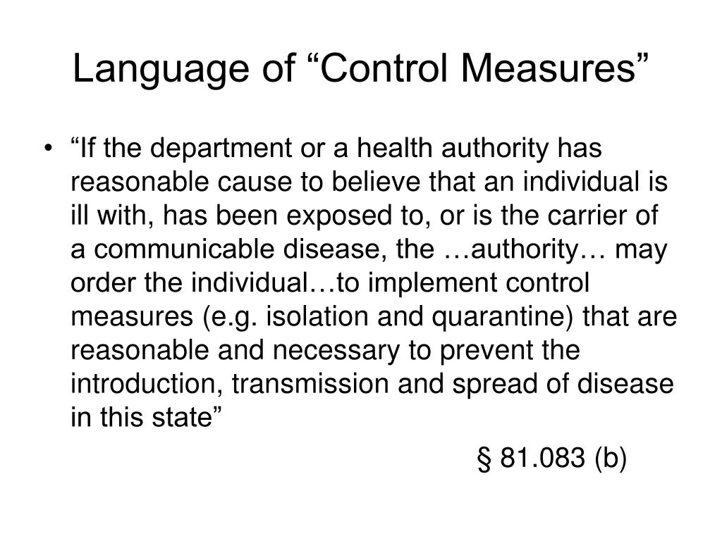 "Language of ""Control Measures"""