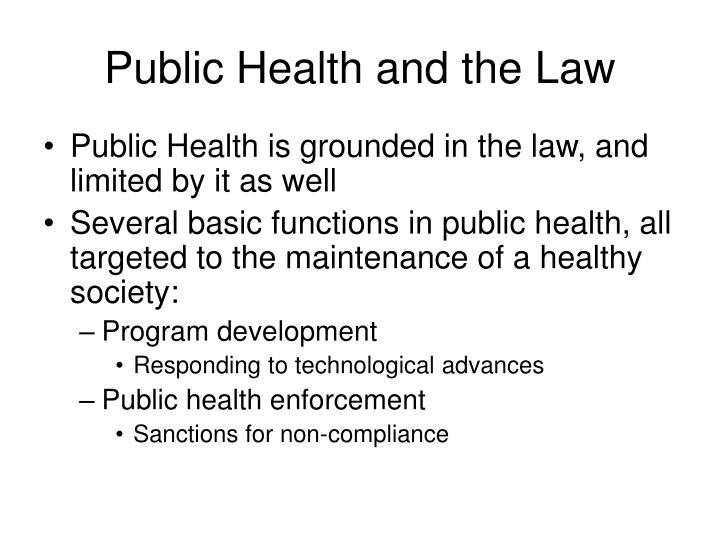 Public health and the law