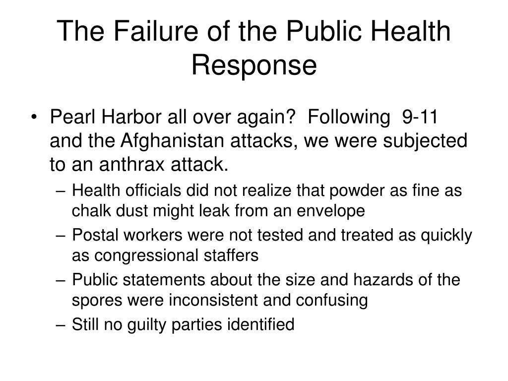The Failure of the Public Health Response