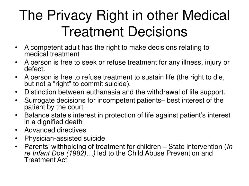 The Privacy Right in other Medical Treatment Decisions