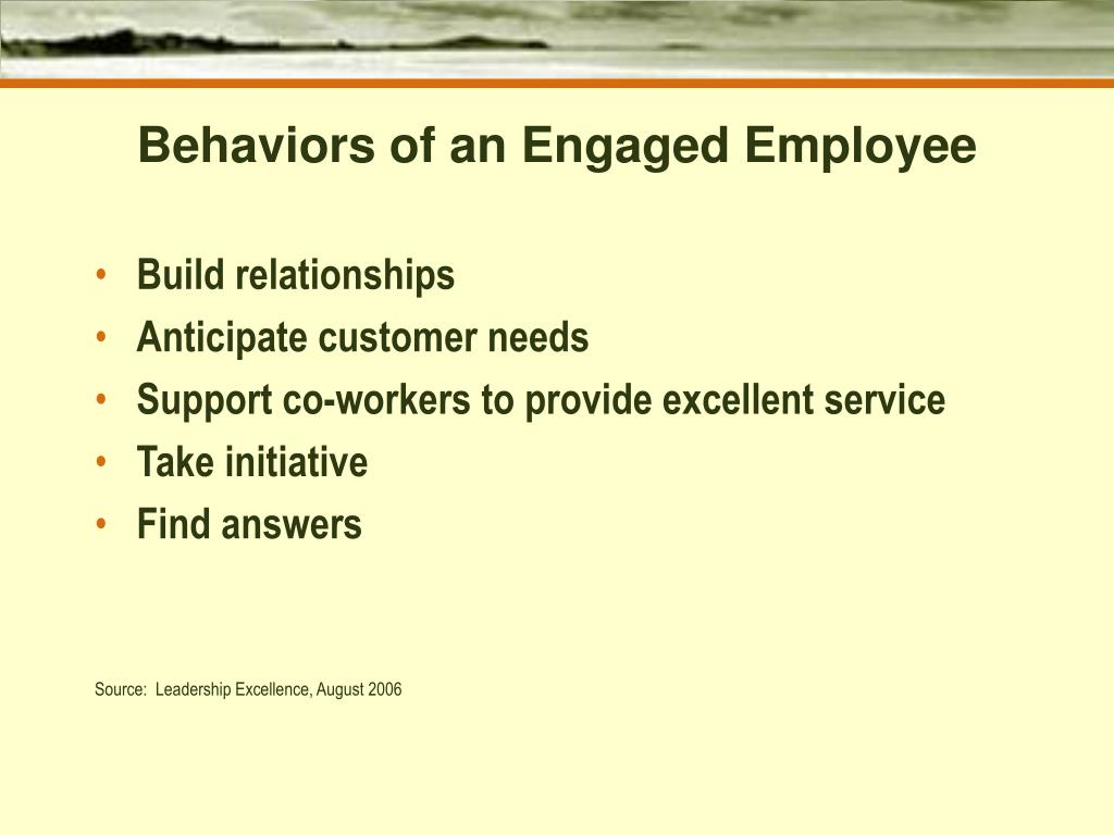 Behaviors of an Engaged Employee