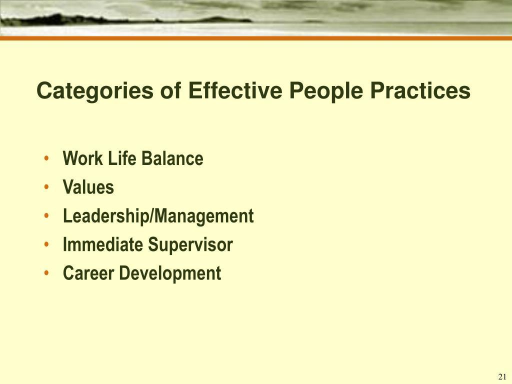 Categories of Effective People Practices