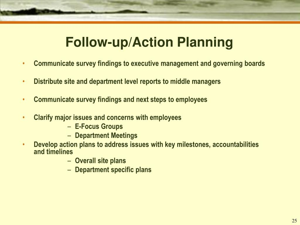 Follow-up/Action Planning