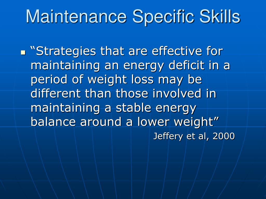 Maintenance Specific Skills