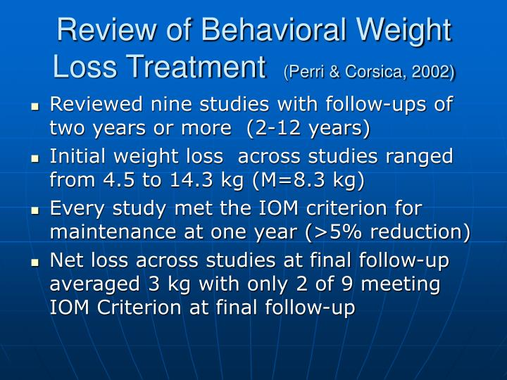 Review of behavioral weight loss treatment perri corsica 2002