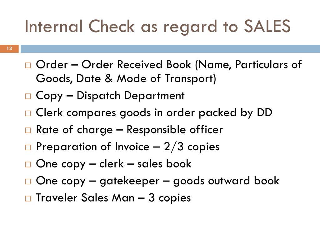 Internal Check as regard to SALES