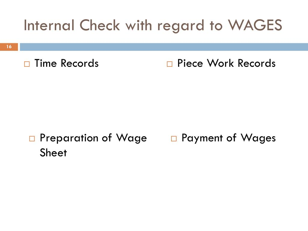 Internal Check with regard to WAGES