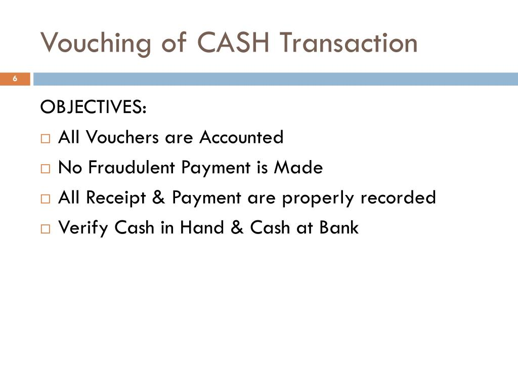 Vouching of CASH Transaction