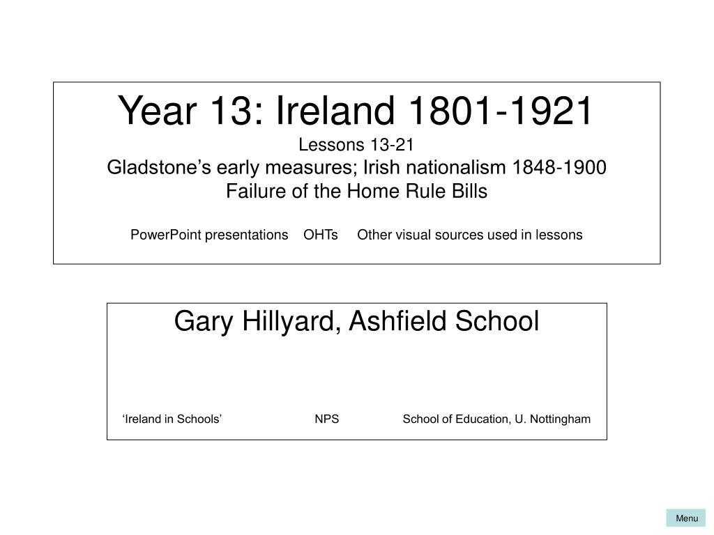 Year 13: Ireland 1801-1921