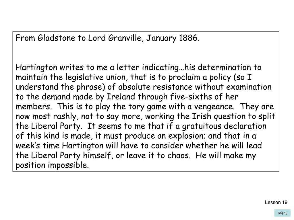 From Gladstone to Lord Granville, January 1886.