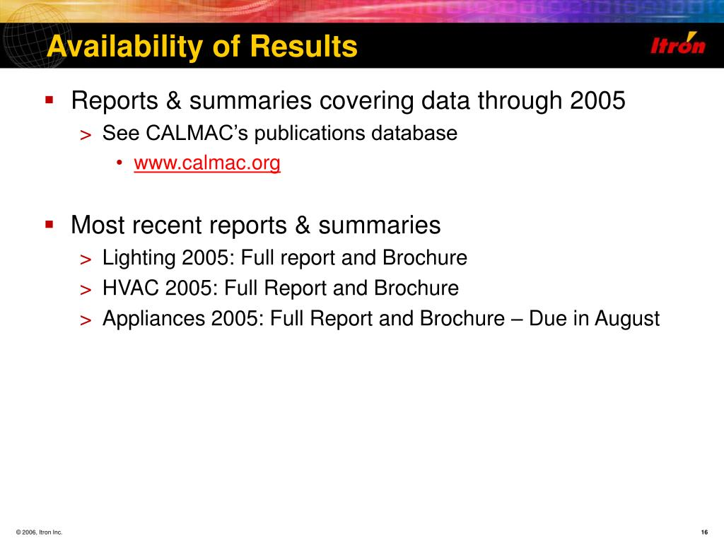 Availability of Results