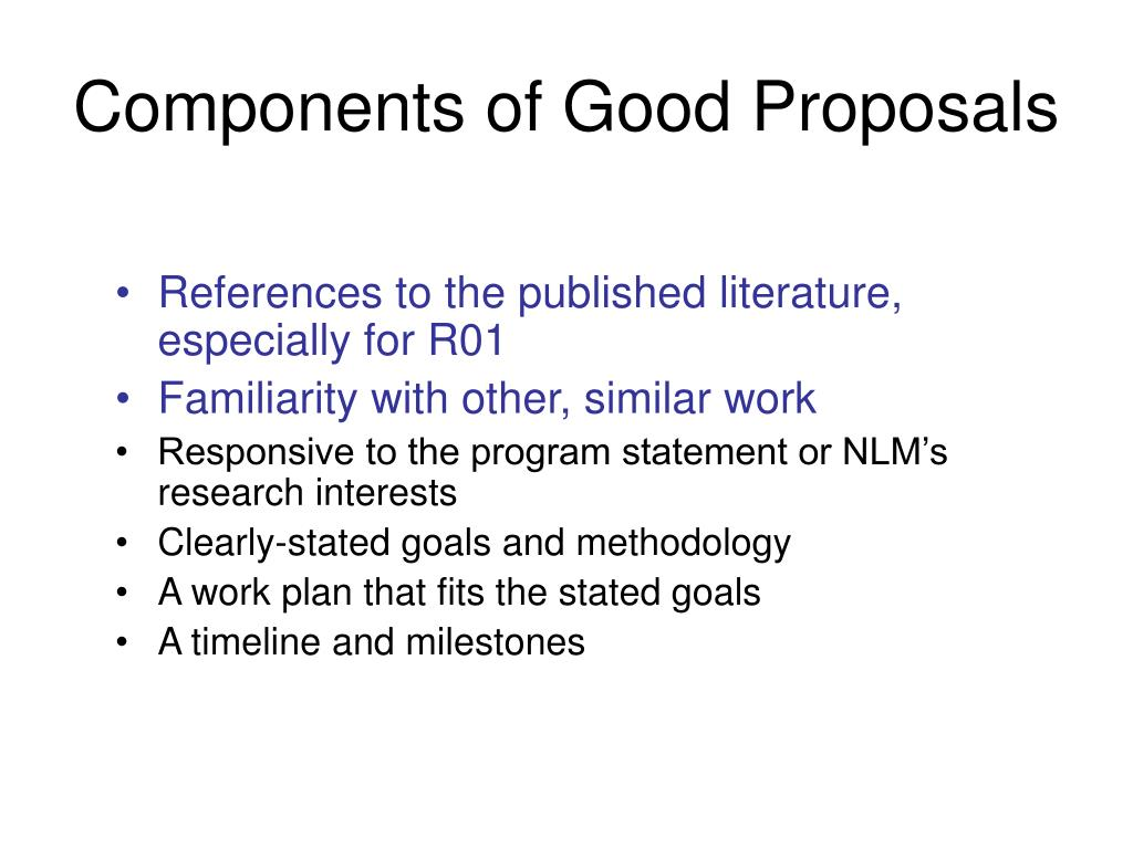 Components of Good Proposals