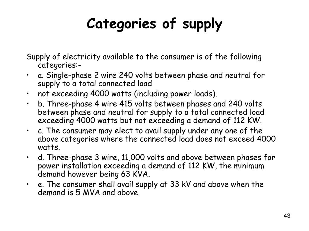 Categories of supply