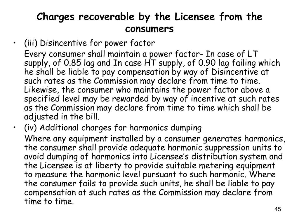 Charges recoverable by the Licensee from the