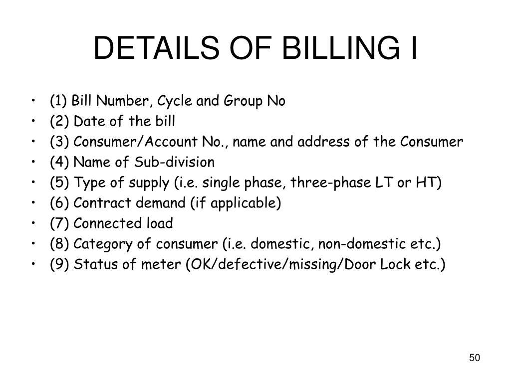 DETAILS OF BILLING I