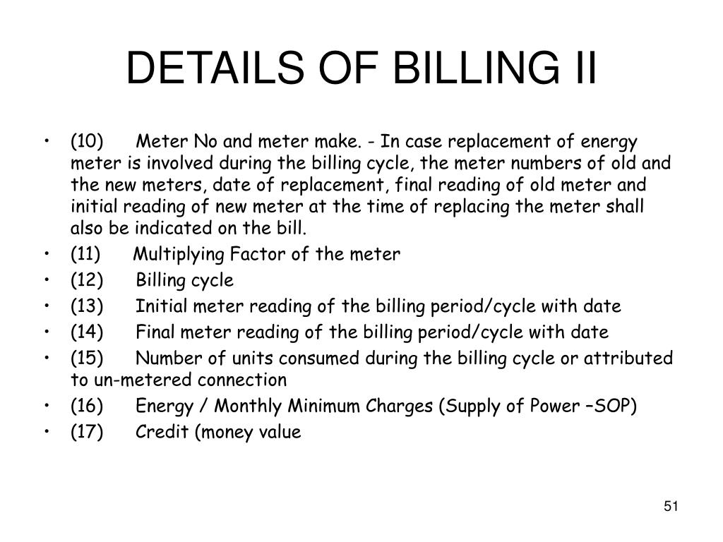 DETAILS OF BILLING II