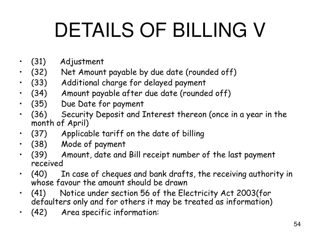DETAILS OF BILLING V