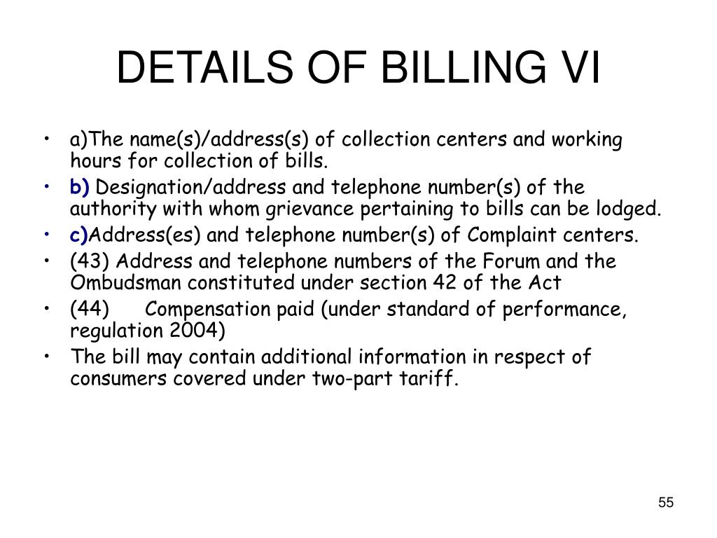 DETAILS OF BILLING VI