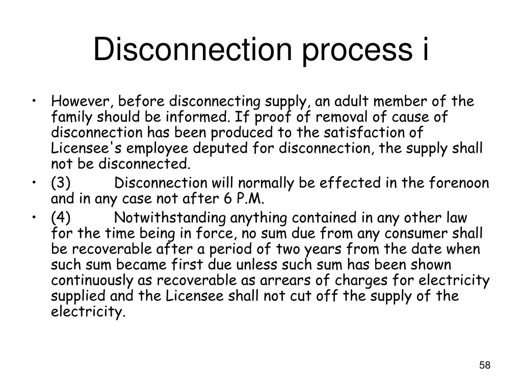 Disconnection process i