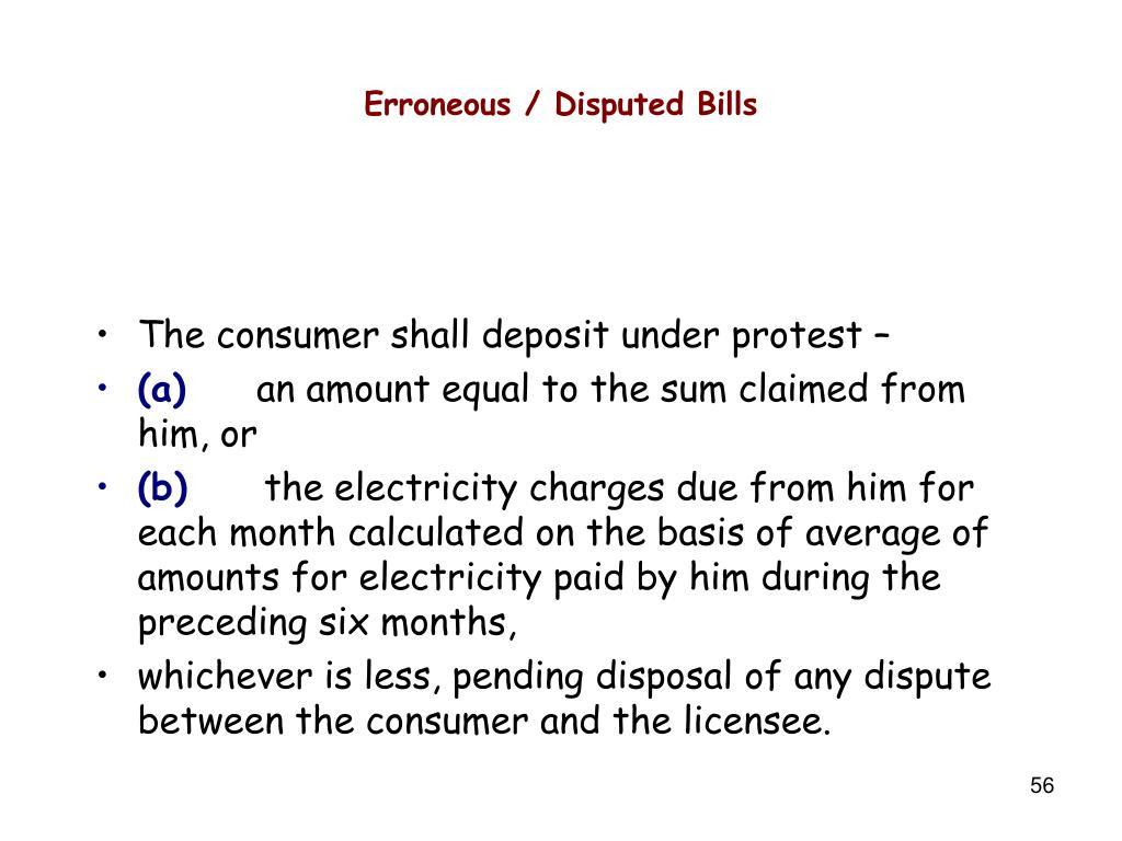 Erroneous / Disputed Bills