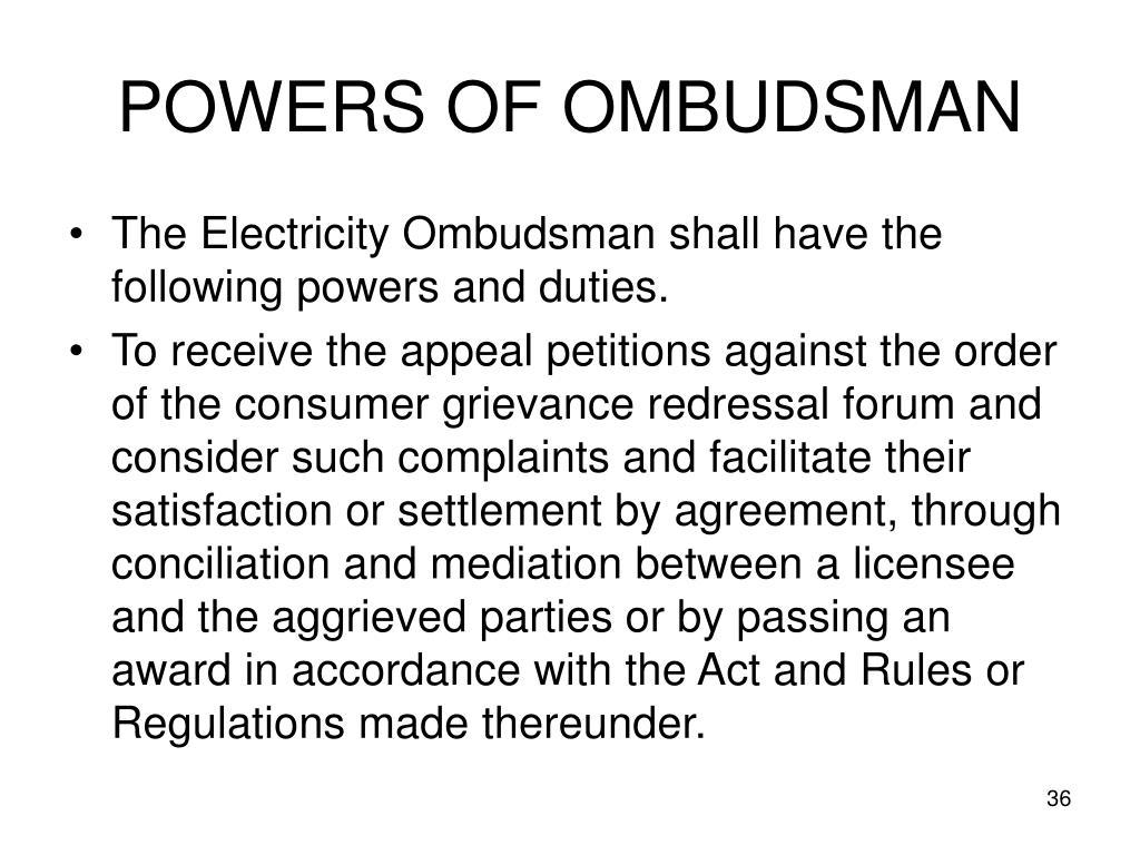 POWERS OF OMBUDSMAN