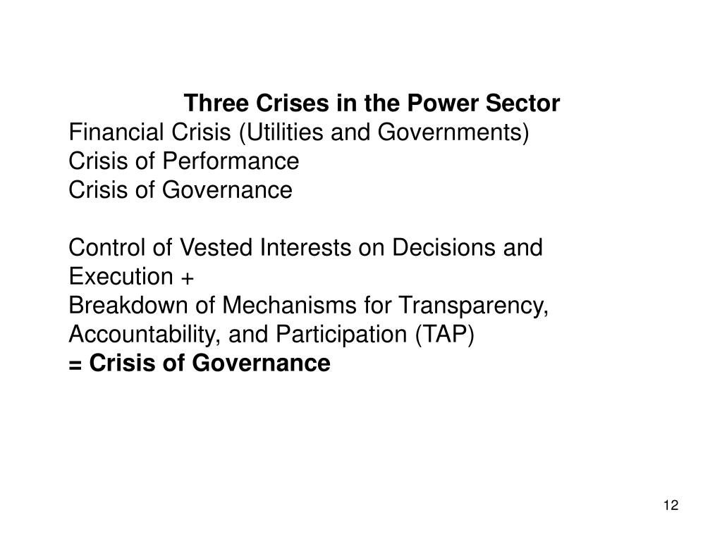 Three Crises in the Power Sector
