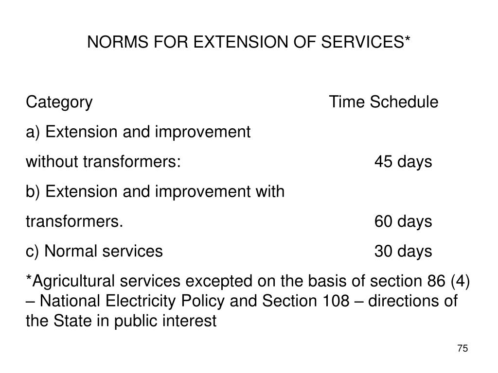 NORMS FOR EXTENSION OF SERVICES*