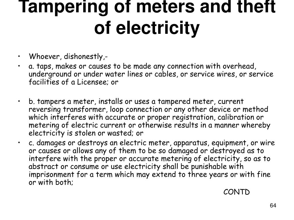 Tampering of meters and theft of electricity