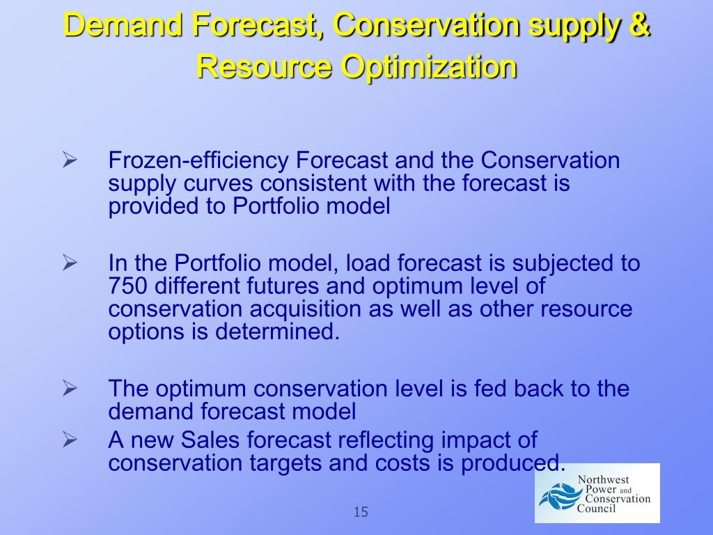 Demand Forecast, Conservation supply & Resource Optimization