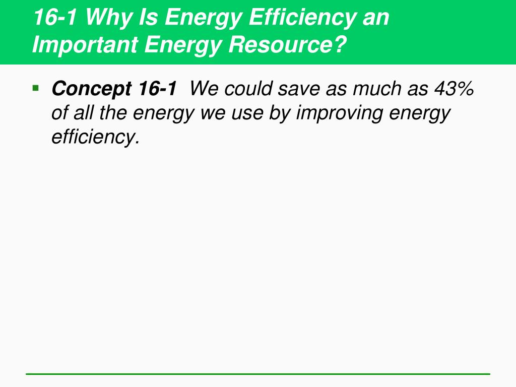 16-1 Why Is Energy Efficiency an Important Energy Resource?