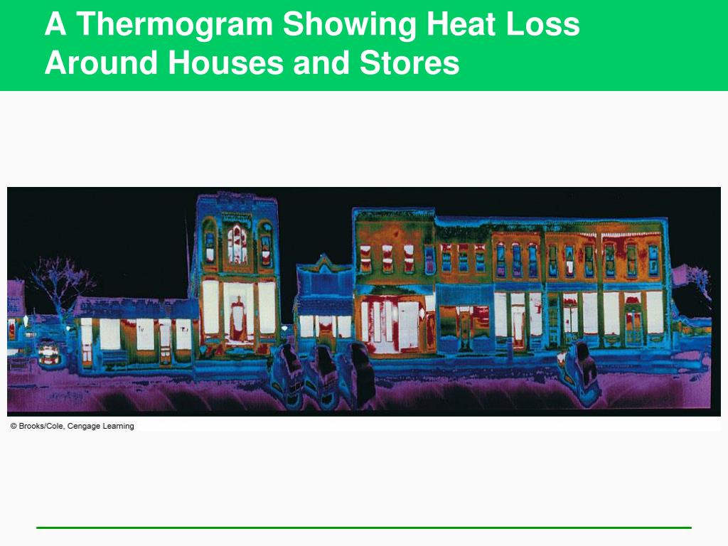 A Thermogram Showing Heat Loss Around Houses and Stores