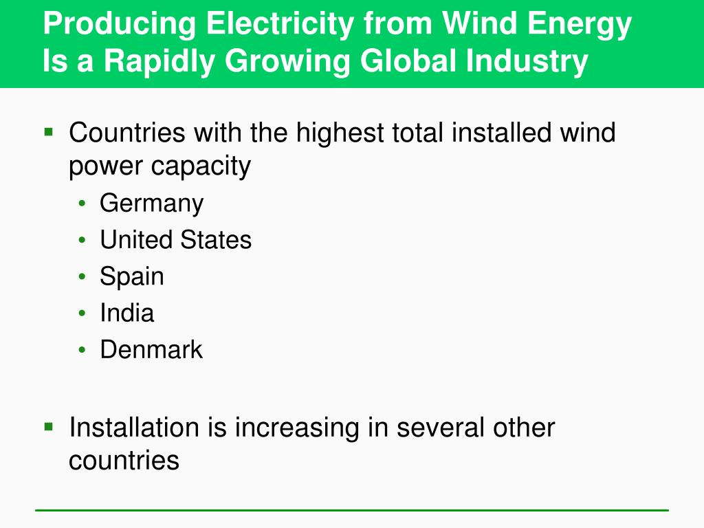 Producing Electricity from Wind Energy Is a Rapidly Growing Global Industry