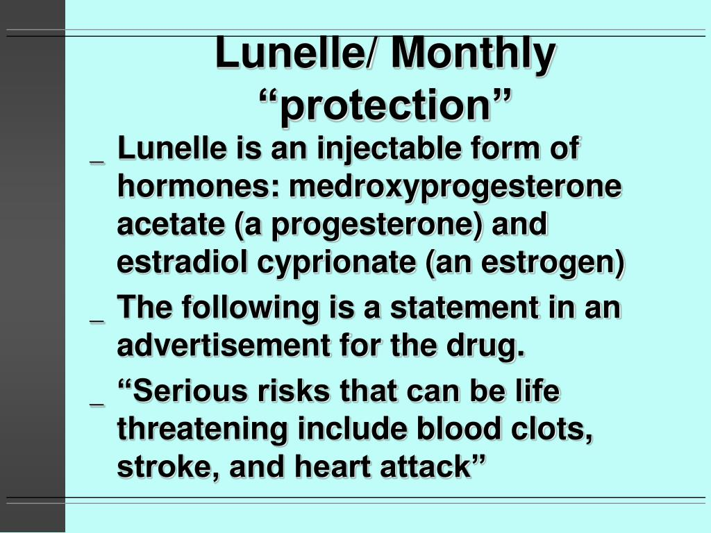 "Lunelle/ Monthly ""protection"""